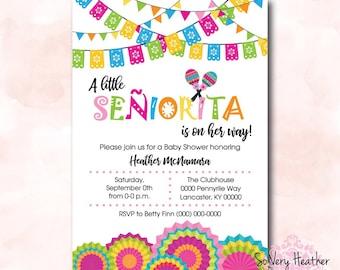 A Little Senor/Senorita Baby Shower Invitation, Birth Announcement, First Birthday Party Invitation Digital File OR Printed