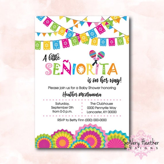 A Little Senor/Senorita Baby Shower Invitation, Birth Announcement, First Birthday Party Invitation Digital File OR Printed