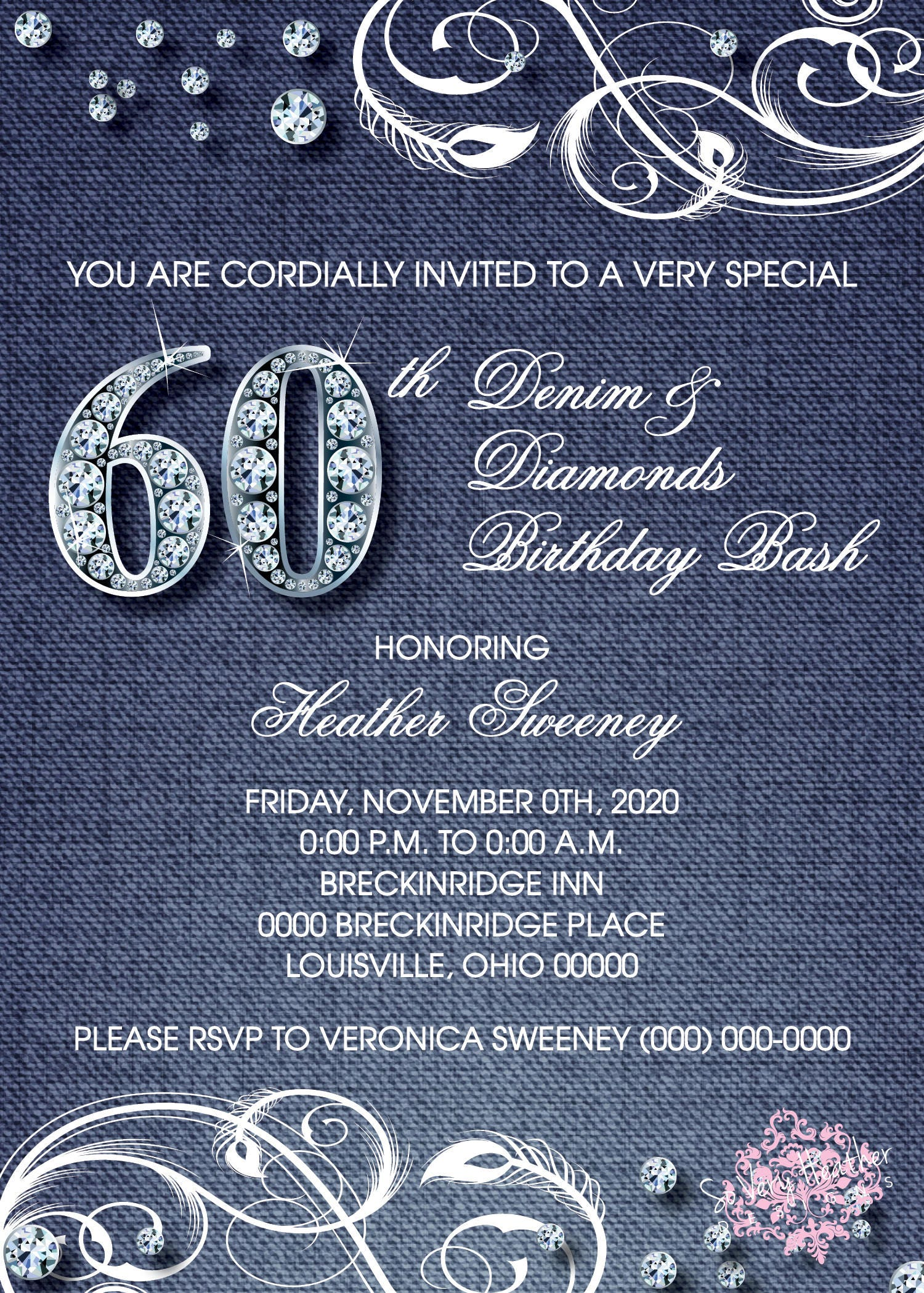 denim and diamonds adult birthday party invitation digital file or printed