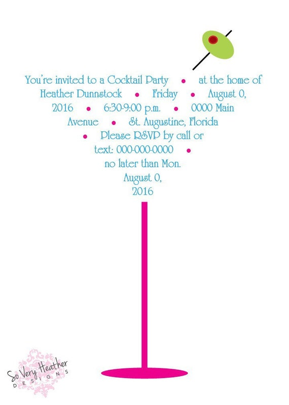 Martini Cocktail Invitation - Digital File OR Printed