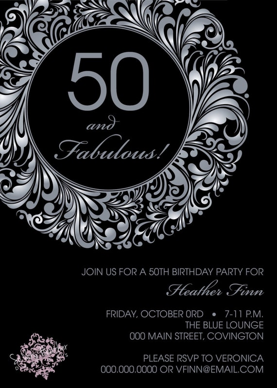 50 and Fabulous Birthday Party Invitation - Digital File OR Printed
