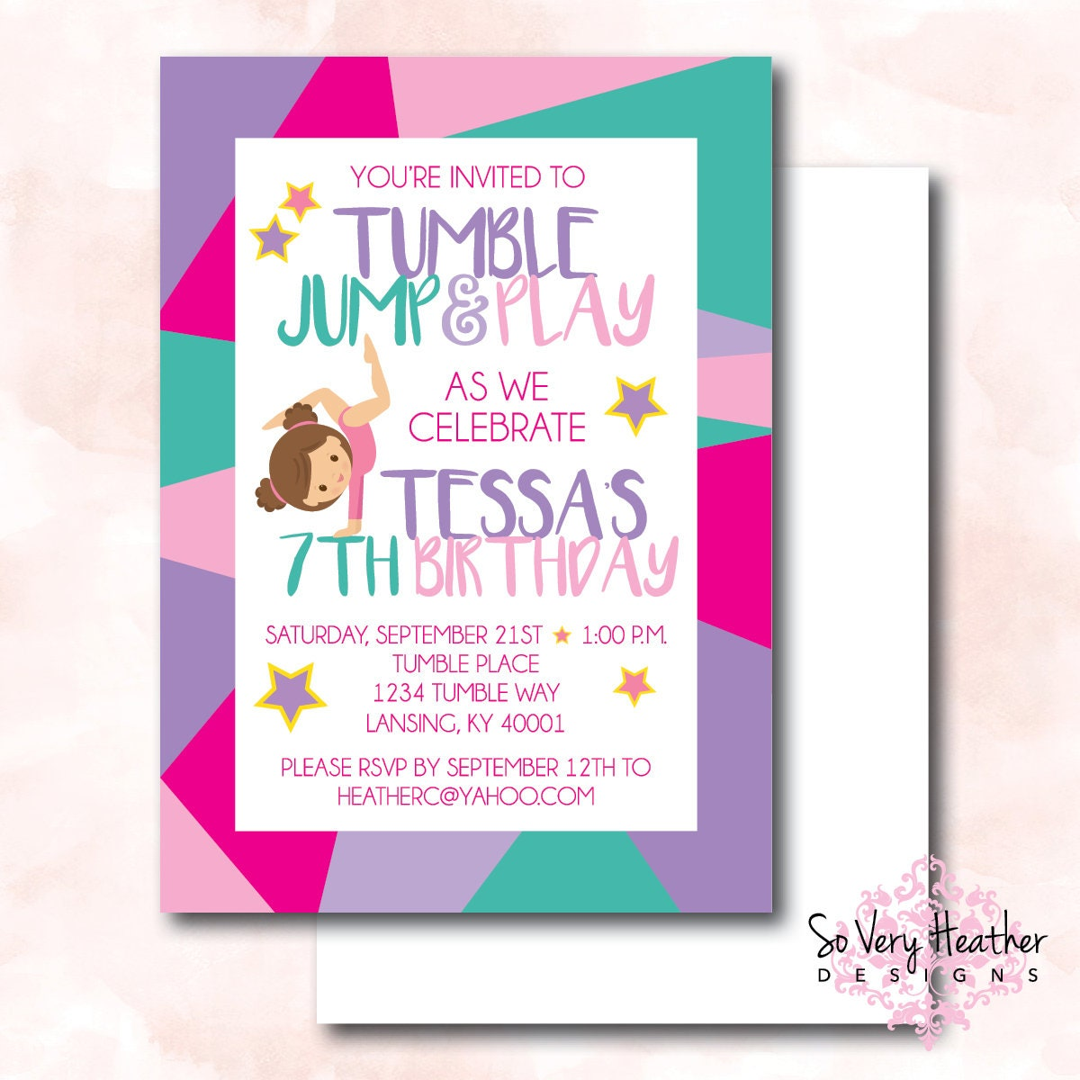 Tumble jump and play birthday party invitation and thank you cards tumble jump and play birthday party invitation and thank you cards digital file or printed stopboris Images