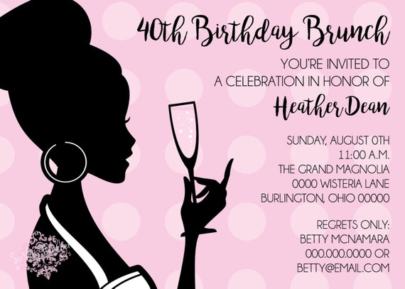 Bubbly Birthday Brunch, Bridal Shower, Mother's Day Brunch, Adult Birthday Party, Cocktail Party Invitation - Digital File OR Printed