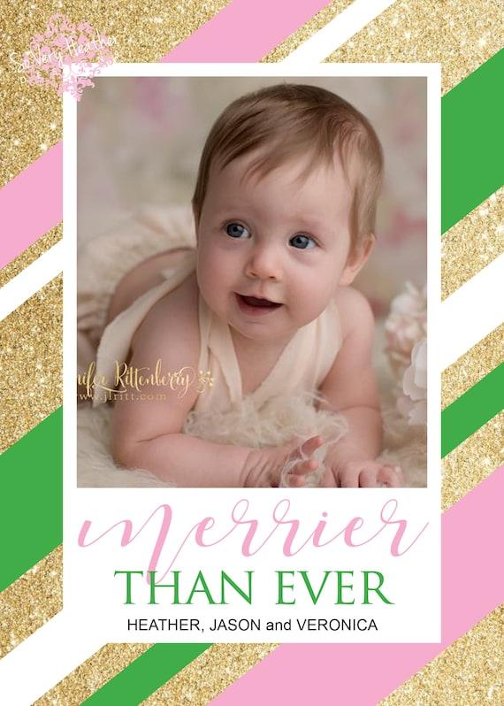 Glitter Stripes Christmas Card - Digital File OR Printed