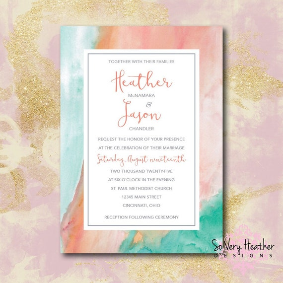 Teal and Coral Marble Wedding Invitation, 25th Wedding Anniversary, Vow Renewal Invitation - Digital File OR Printed