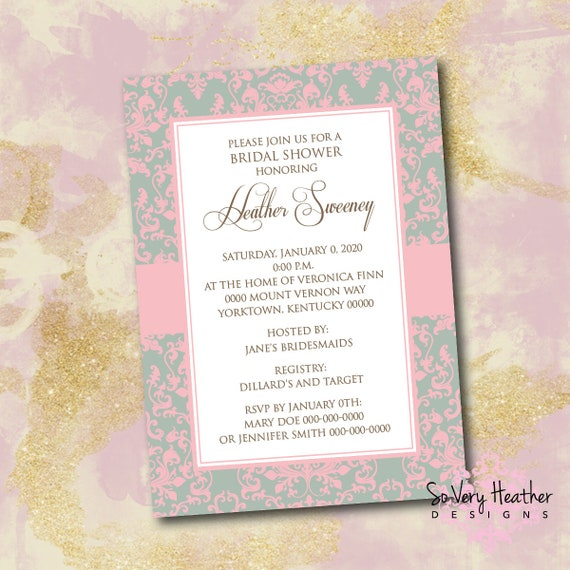Damask Bridal Shower Invitation - Digital File OR Printed