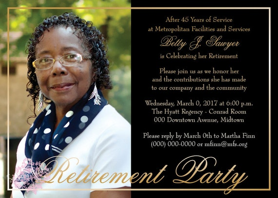 Black and Gold Adult Birthday Party, Retirement Party, 50th Wedding Anniversary Invitation  - Digital File OR Printed