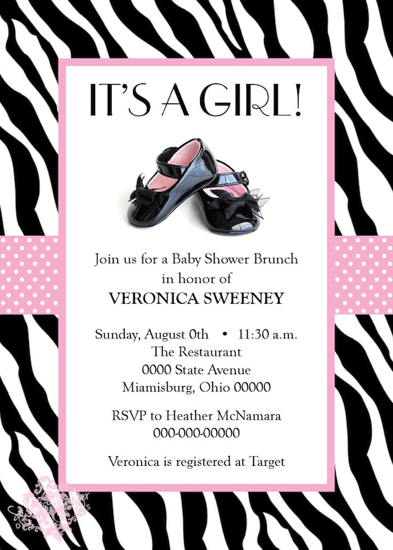 Patent Leather Shoes Girl Baby Shower Invitation - Digital File OR Printed