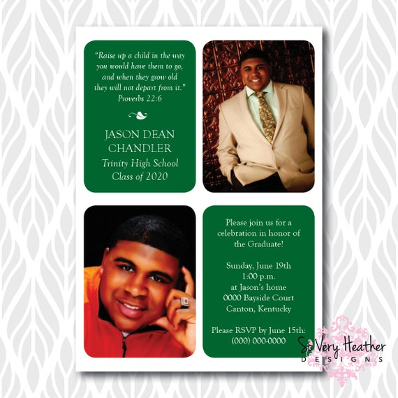 Photo Graduation Invitations/Announcements With Bible Verse | Perfect for Seminary, College, High School Graduate - Digital File OR Printed
