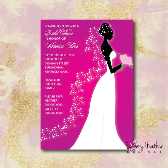 Glowing Bride Bridal Shower Invitation - Digital File OR Printed