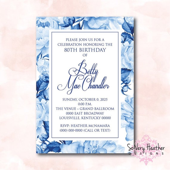 Blue and White Floral Birthday Party Invitation - Digital File OR Printed