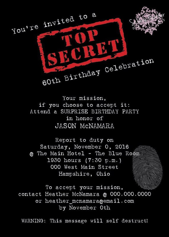 Top Secret Surprise Party - Digital File OR Printed