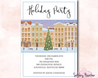 Holiday Party Invitation - Digital File OR Printed