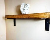 SOLID PINE SHELF With Cast Iron Brackets (6 quot ) kitchen shelf wall decor alcove shelves