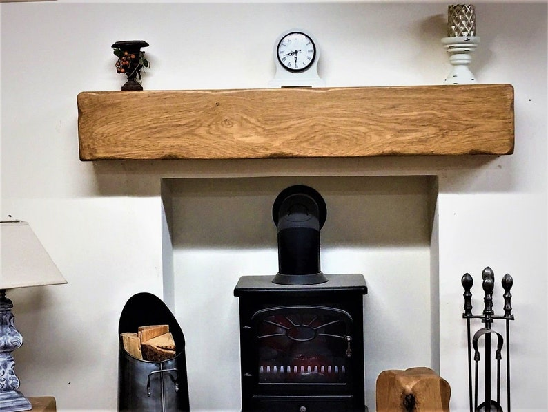 Ben Simpson Furniture Rustic Oak Beam Fireplace Mantel 10 x 15 x 110cm Antique Oak
