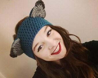 Crochet Blue Midnight Fox Ear Warmers