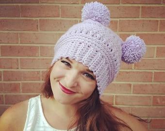 cc12621760b Crochet Textured Hat with Double Pom Pom