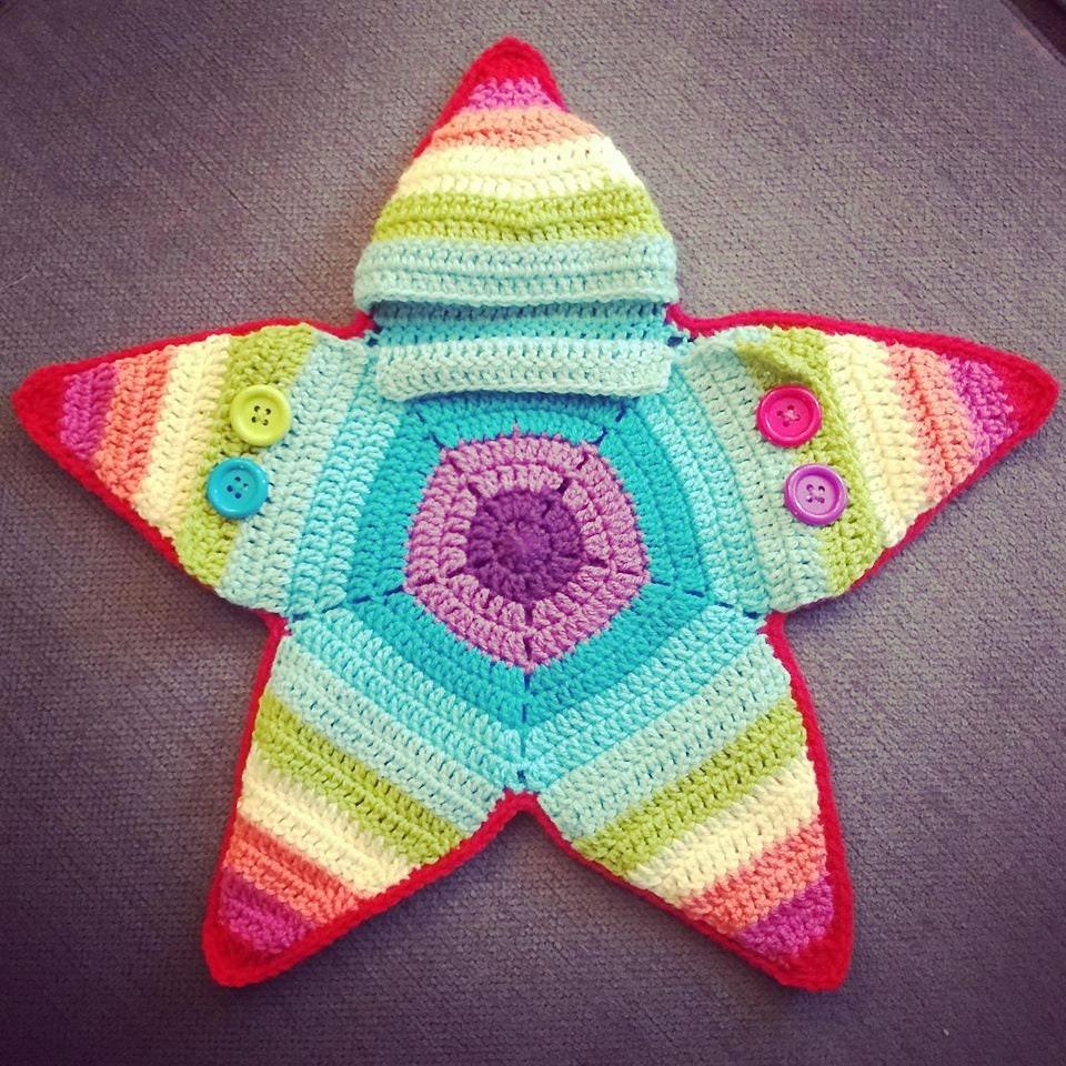 Crochet Rainbow Star Baby Bunting Suit Etsy