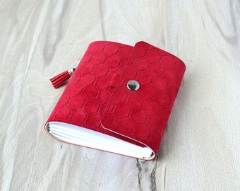 Small notebook, Leather notebook, Red leather journal, Pocket notebook, Password book, Suede notebook