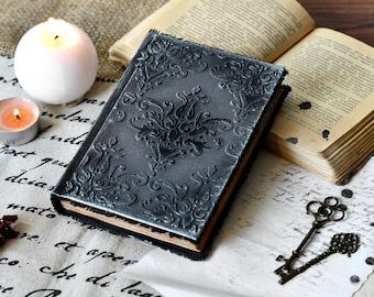 Notebook A6, Journal antique paper, Black grimoire, Book of shadows, Book of magic, Mixed media journal Tarot notebook Spell book Witch book