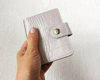 A9 notebook croc leather, A9 planner with rings, refillable leather notebook 3 rings, Micro notebook with snap cover, Leather small journal