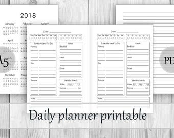 Daily planner undated Planner printable Daily calendar insert Daily planner insert A5 printable refills Planner insert Meal planner Agenda