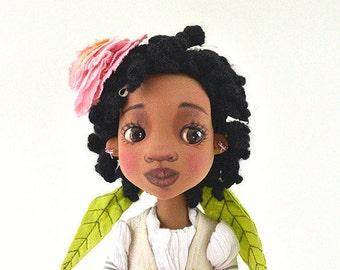 """Bambola in collezione """"bambole di fiori"""", personaggio ispirato da un rosa, materiale tessuto, inserti occhi"""