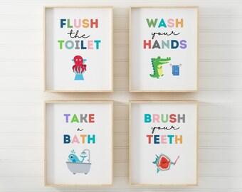 Kids Bathroom Art Etsy