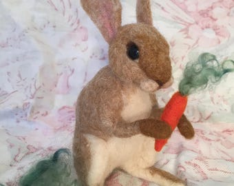 Tan bunny- needle felted- Easter gift- Pink Jackalope Studio