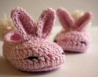 Pink Bunny Slippers, Crochet Booties, Newborn, Girl