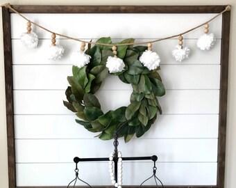 Pom Pom Garland. Wood Bead Garland. Yarn Pom Pom. Wood beads. Fireplace Garland. Nursery decor. Wedding decor.