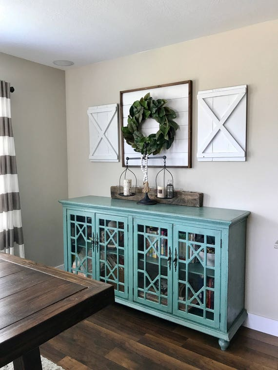 More Colors Pair Of Large Decorative X Wood Shutters Rustic Etsy