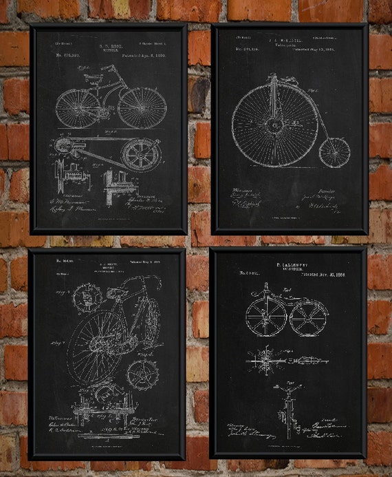 Bicycle 1866 Patent Cycling Wall Art Poster Print Chalk Style Christmas Gift