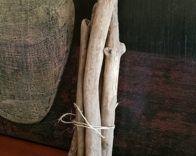 """Five  12-18"""" Driftwood Branches Limbs Sticks. Thick and Sturdy. Macrame Weaving Wall Hanging. Craft Wood."""