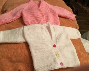 2 new hand knitted babies/dolls 16inch pink/white yarn cardigans