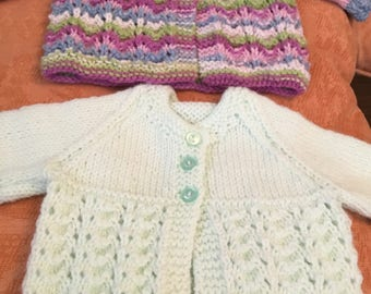 2 new hand knitted babies/dolls 16inch mint/mixed yarn cardigans