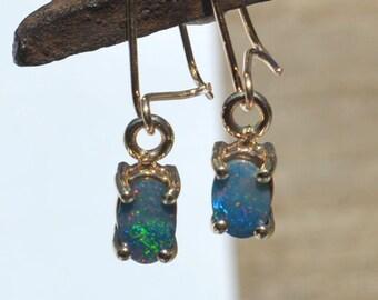 9ct Gold Oval Australian Opal Doublet Drop Earrings, Dainty