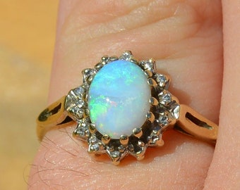 9ct Gold Opal and Diamond Cluster Ring, Vintage