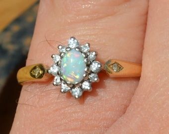 Dainty 18ct Gold Opal and Diamond Cluster Ring,  Vintage