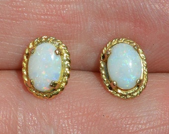 9ct Gold Australian Opal Earrings, Rope Edge