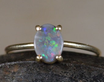 9ct Gold Black Opal Ring, Australian Opal