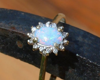 9ct Gold Opal and Diamond Engagement Ring