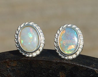 Sterling Silver and Australian Opal Earrings, Mismatched Opals