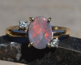 9ct Gold Black Opal and Diamond Ring, Australian Opal.   G VS1