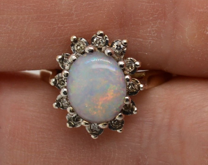 Featured listing image: 9ct Gold Opal and Diamond Cluster Ring, Australian Crystal Opal