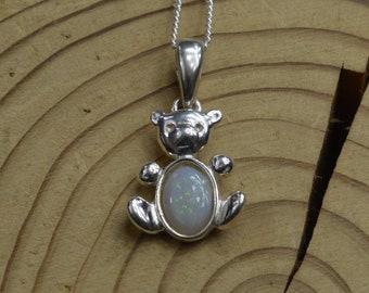 Silver Opal Teddy Bear Pendant