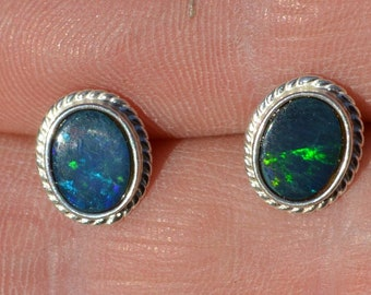 Oval Australian Opal Doublet Stud Earrings, Rope Edge 11 x 9 mm