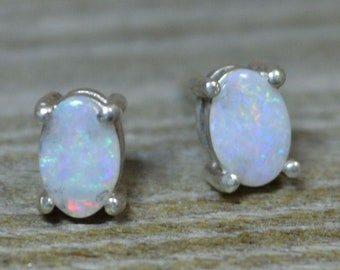 Dainty Oval Opal Stud Earrings, Australian Opals