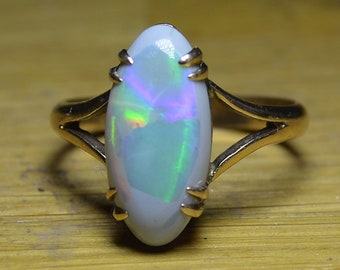 Antique 9ct Gold Black Opal Ring, Australian Opal