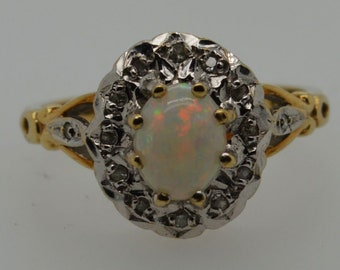 Large 9ct Gold Australian Opal Ring, Oval Cluster Ring